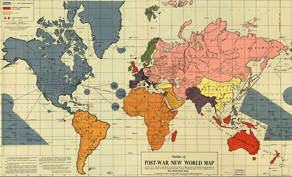 World map from 1942, showing hypotehtical nation states after WWII