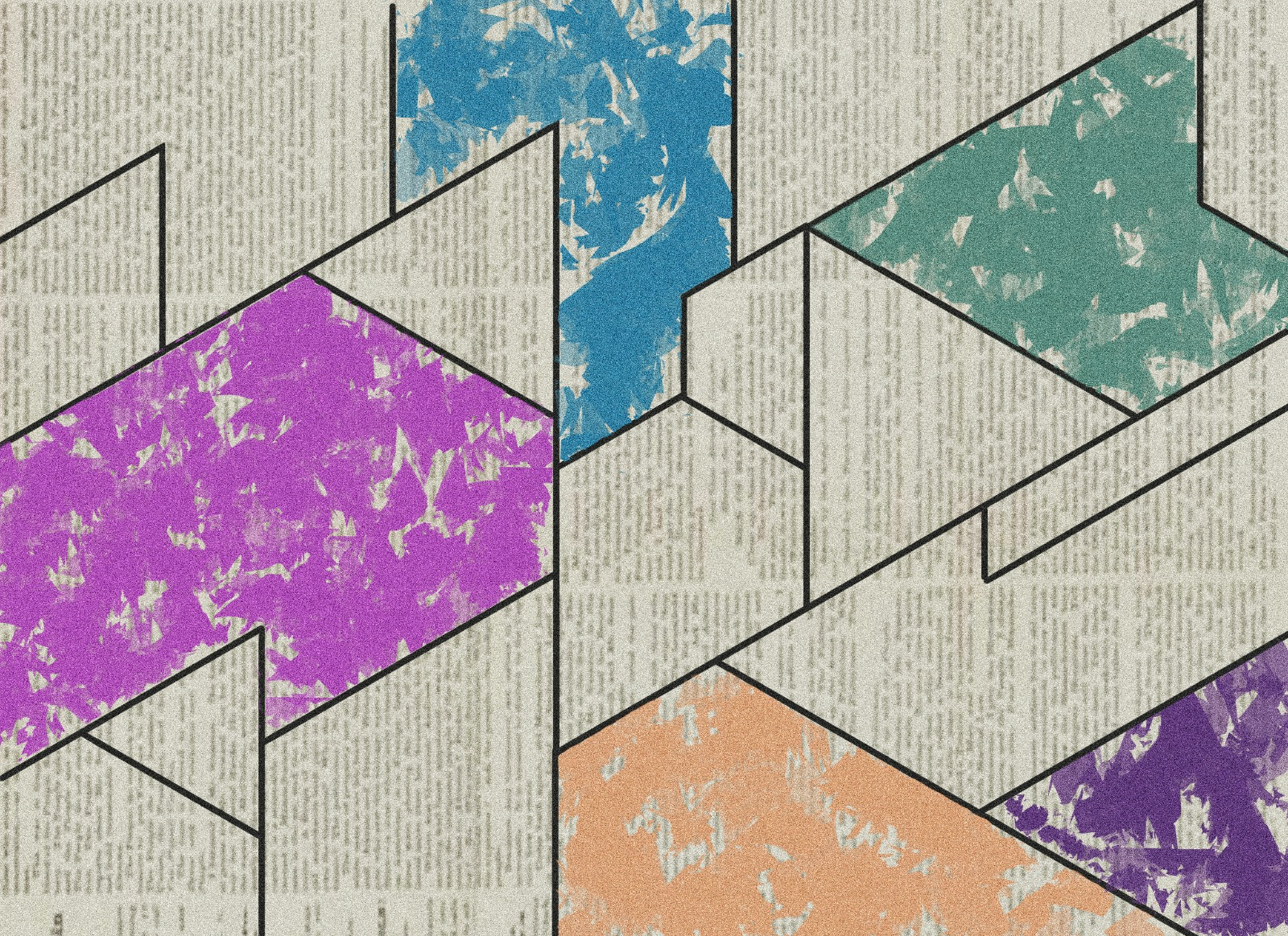 abstract color block design over newsprint