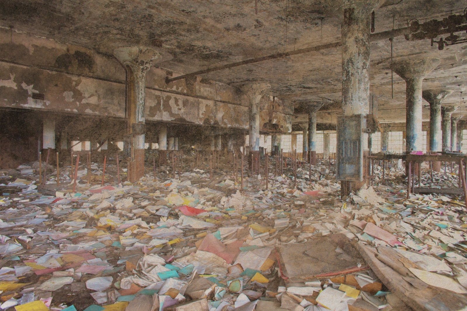 Photograph of the abandoned Detroit Public Schools Book Depository