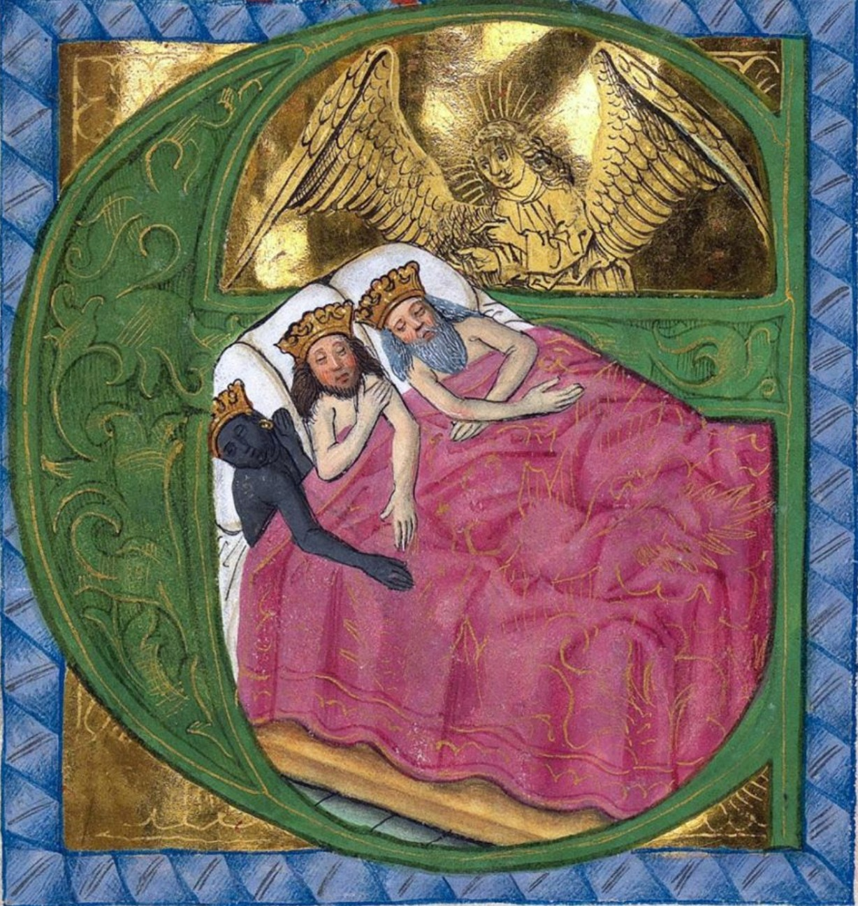Illuminated manuscript image of the biblical Dream of the Magi showing the three kings naked in bed and an angel speaking to them