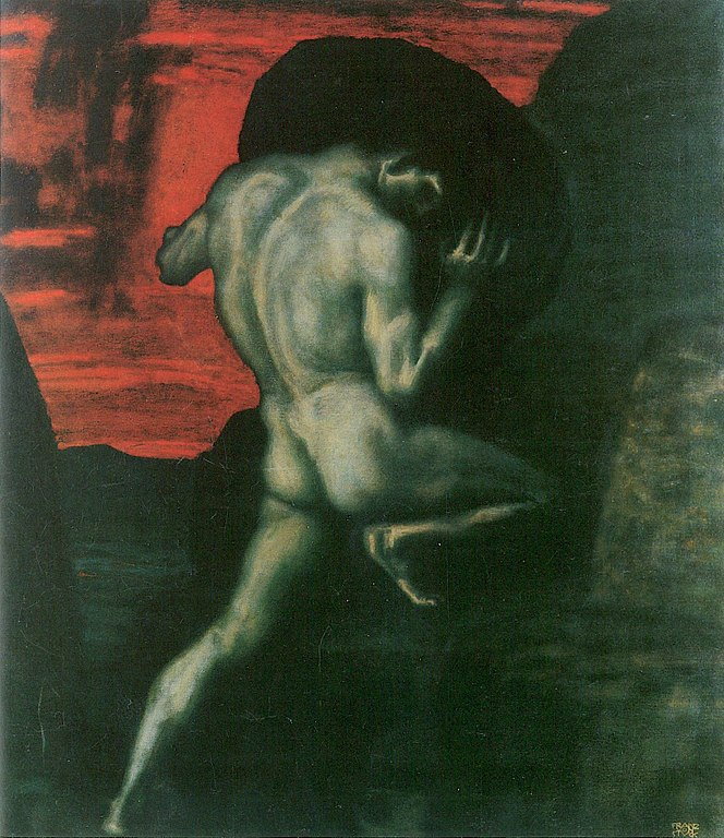 A painting of Sisyphus pushing his rock up the hill