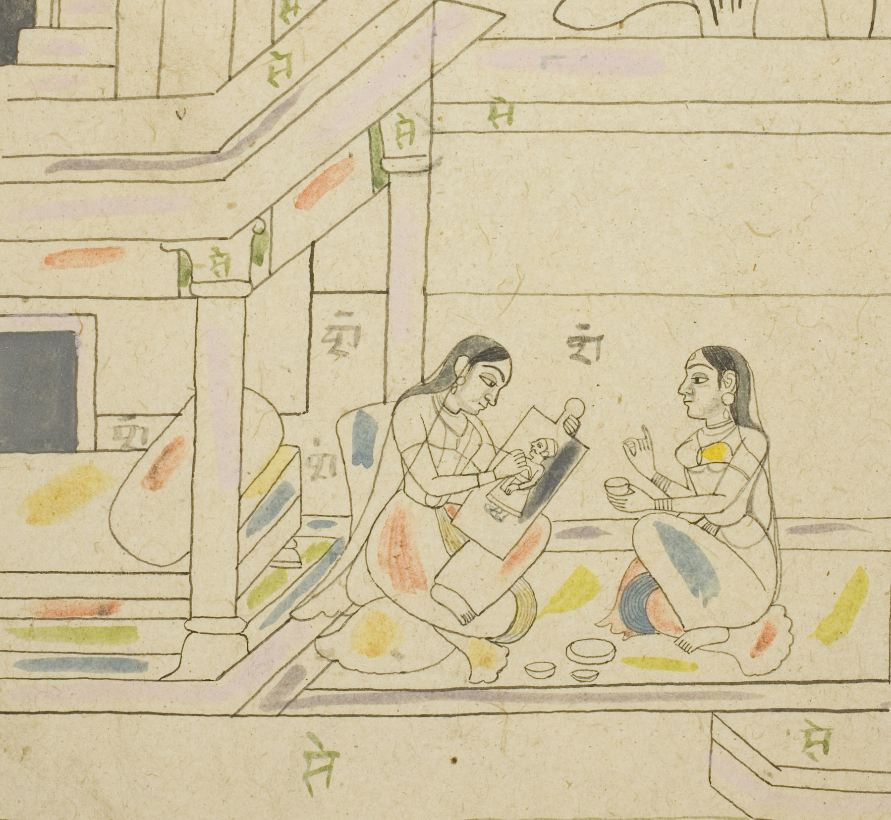 Ink Drawing of two women, one playing music, from eighteenth century India