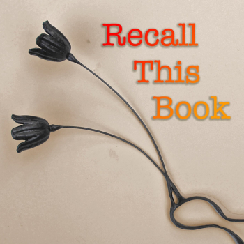 Recall This Book logo, black flowers on a tan background with red text