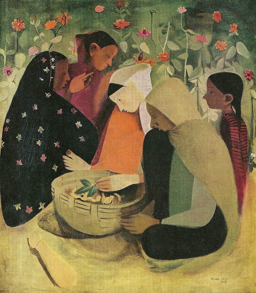 """""""Resting"""" painting by Amrita Sher-Gil (1913-1941)."""